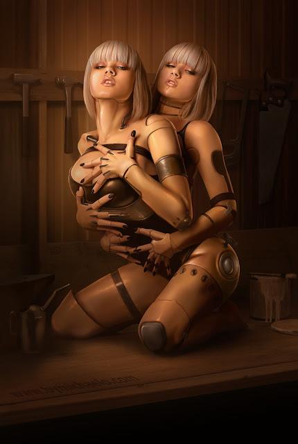 digital art girl,robot girls, 5 stars