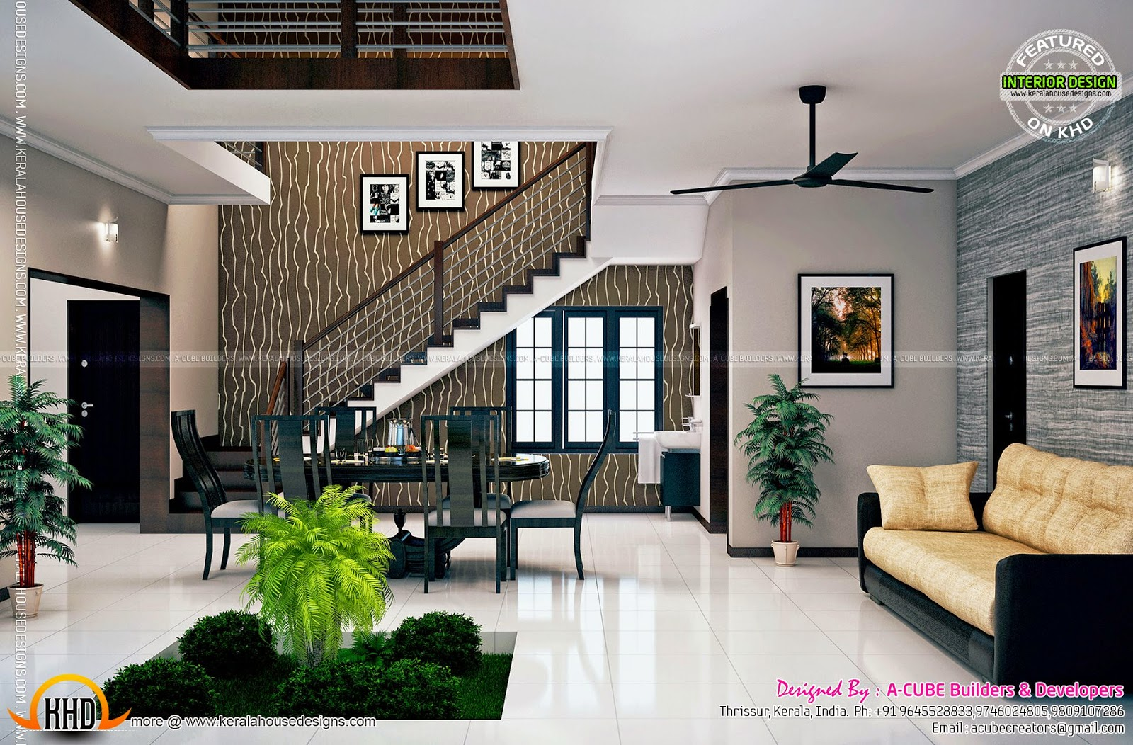 Kerala interior design ideas kerala home design and for Kerala house living room interior design
