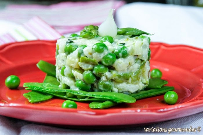 petits pois, asperges,riz, risotto, pois gourmands, pousses d'épinards, légumes, végétarien