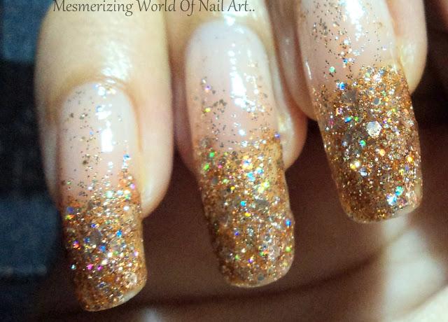 Mesmerizing World Of Nail Art Golden Glitter Nail Art Using