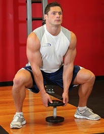 Squat exercise for legs using dumbbells1