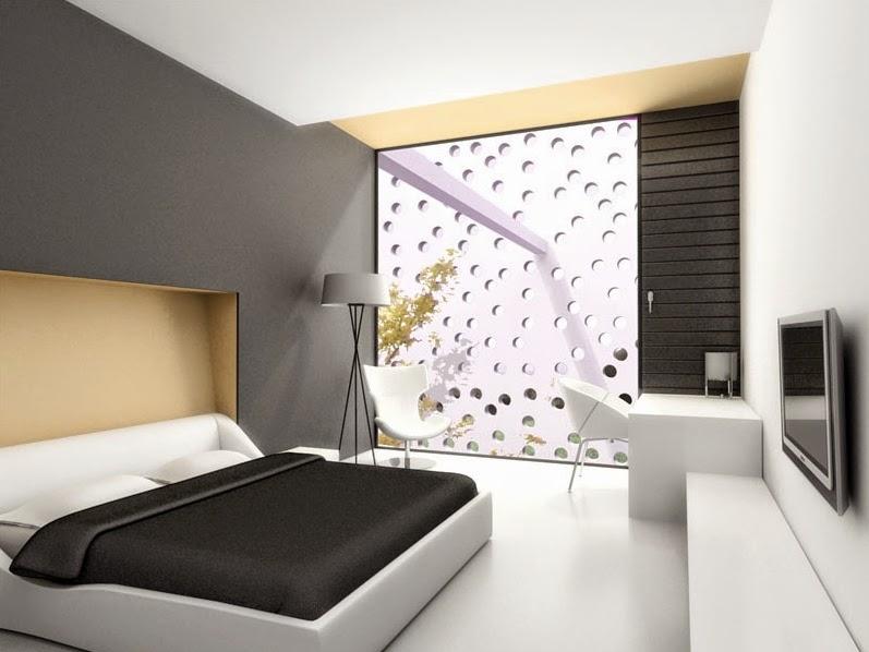 Warna kamar tidur kombinasi antara krem dan hitam