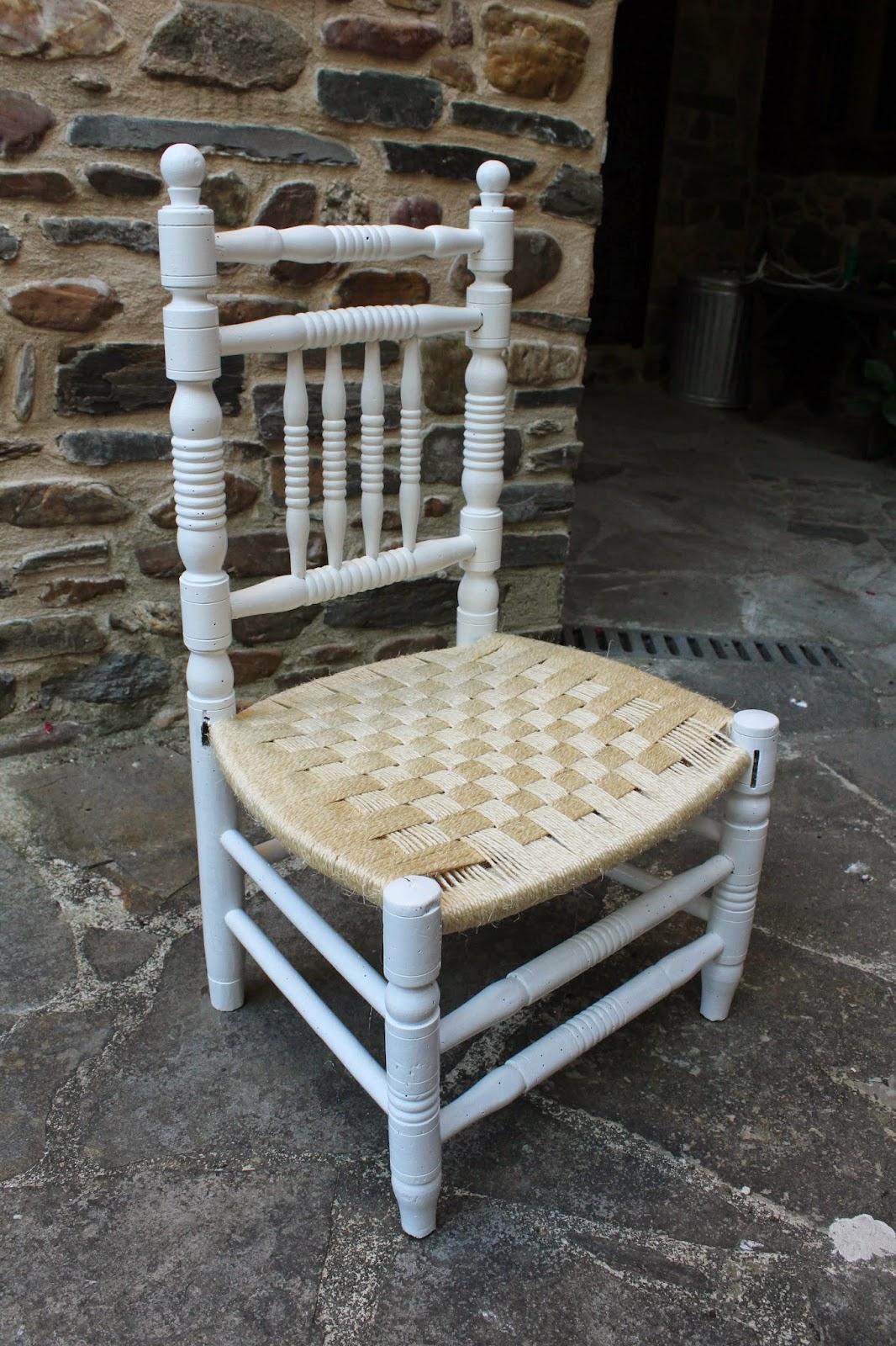Gloria vintage silla con asiento de cuerda - Como hacer fundas para asientos de sillas ...
