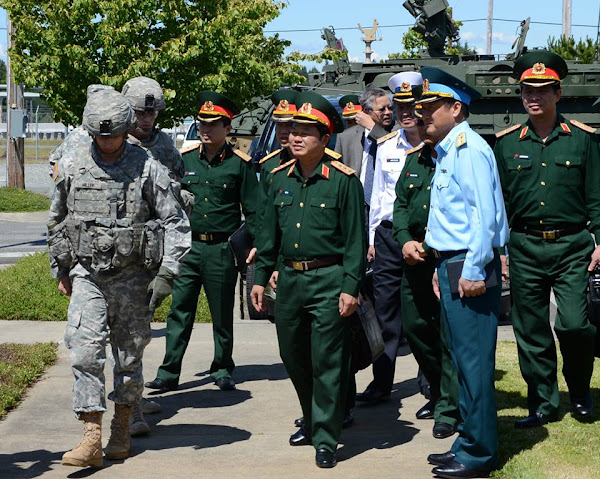 Partnering with Vietnam. Sr. Lt. Gen. Do Ba Ty, Army, Chief of Staff, Vietnam's People's Army visited I Corps and 7th Infantry Division at JBLM to learn about the Pacific Rebalance and Stryker vehicle capabilities, June 18, 2013. Photo provided by JBML VI.