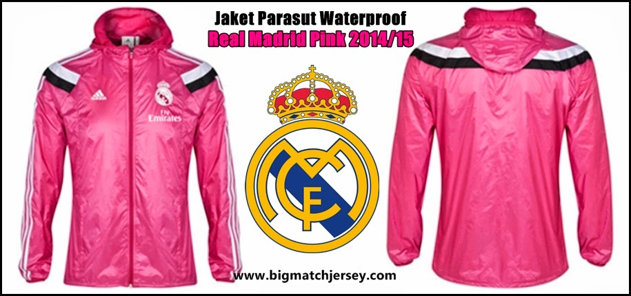 Gambar Jaket Parasut Real Madrid Pink Official Waterproof 2014 - 2015
