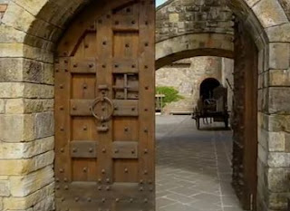 Arched entry of Castello di Amorosa in Napa Valley