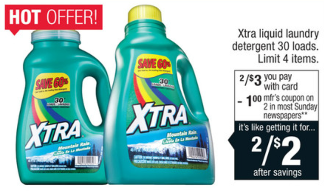 image regarding Xtra Laundry Detergent Printable Coupon called Severe Couponing Mommy: Reasonably priced Xtra Laundry Detergent at CVS