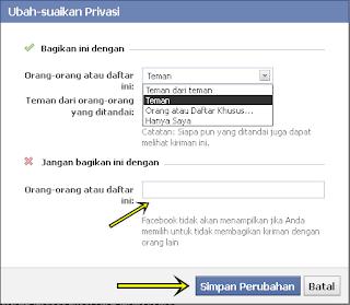 ubah suaikan privasi status fb