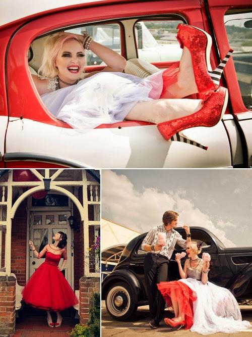 Novias con estilo propio, zapatos rojos