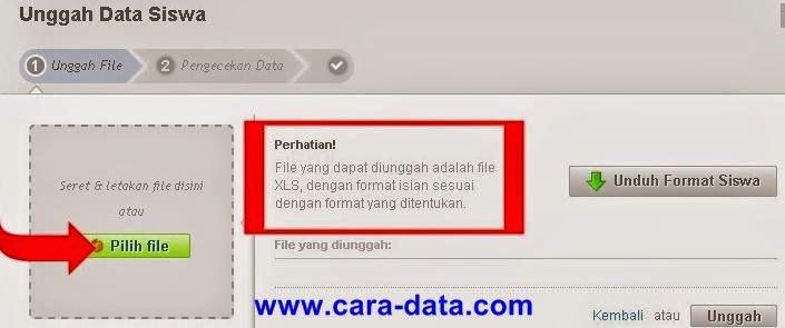 Cara Pilih File data siswa