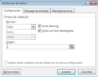 Elegir lista en la ventana de Validacion de datos