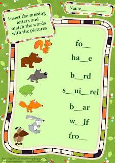 forest animals matching worksheet