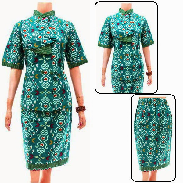 DB3780  Model Baju Dress Batik Modern Terbaru 2014