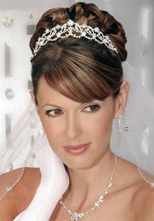 bridal hairstyles half up tiara