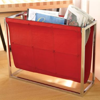 red leather magazine rack