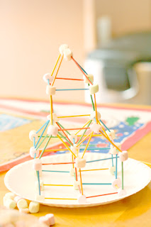 building with toothpicks and marshmallows