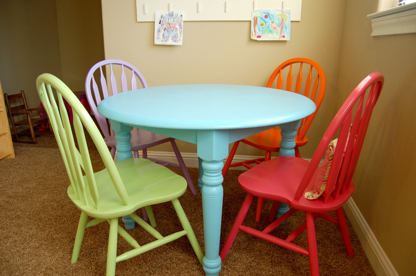 New craft table and chairs for the playroom scattered for Painted kitchen chairs