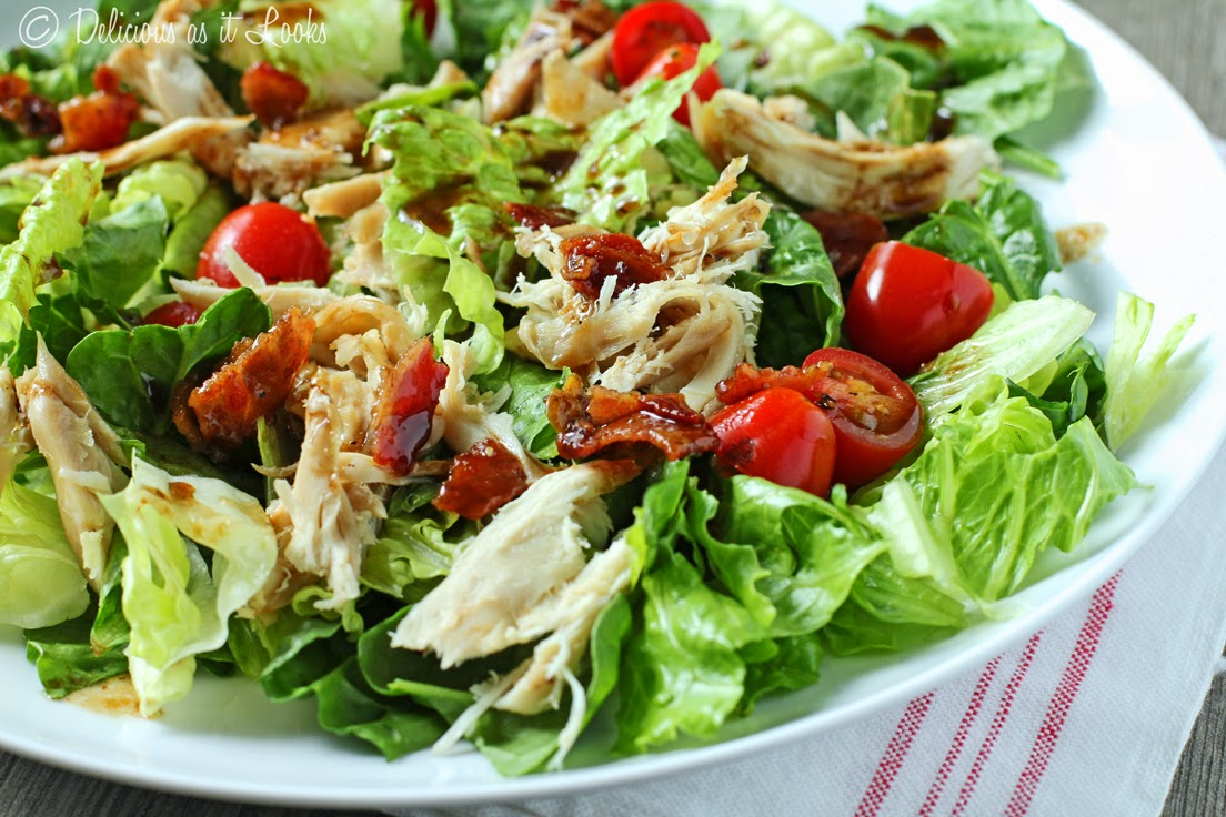 BLT Chicken Salad Warm Bacon Balsamic Vinaigrette  /  Delicious as it Looks