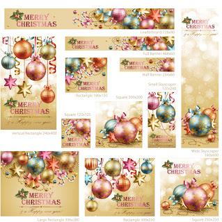 クリスマスボールで飾るバナー見本 beautiful christmas decoration elements イラスト素材