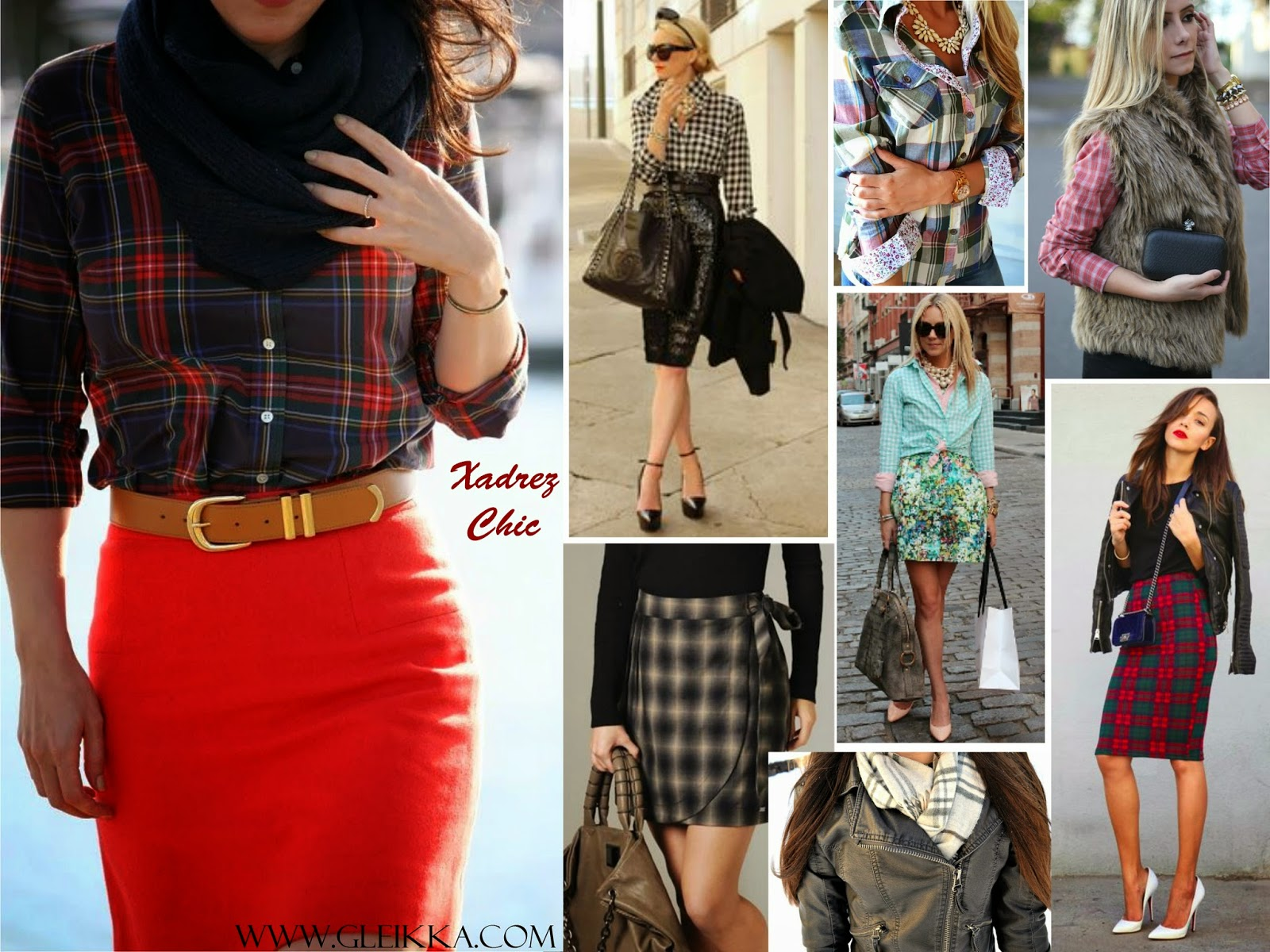 Blog Gleikka, Tendência 2014, Xadrez, Inspiração, Xadrez elegante, Saias xadrez, xadrez chic, look, look feminino, Outono inverno
