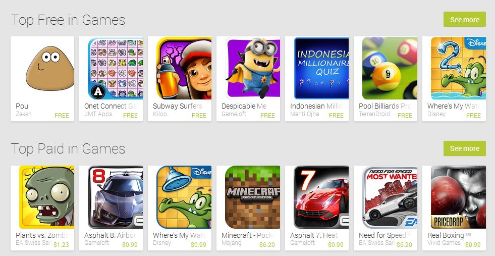 Semua aplikasi dan game diatas dapat anda cari dan download di play ...