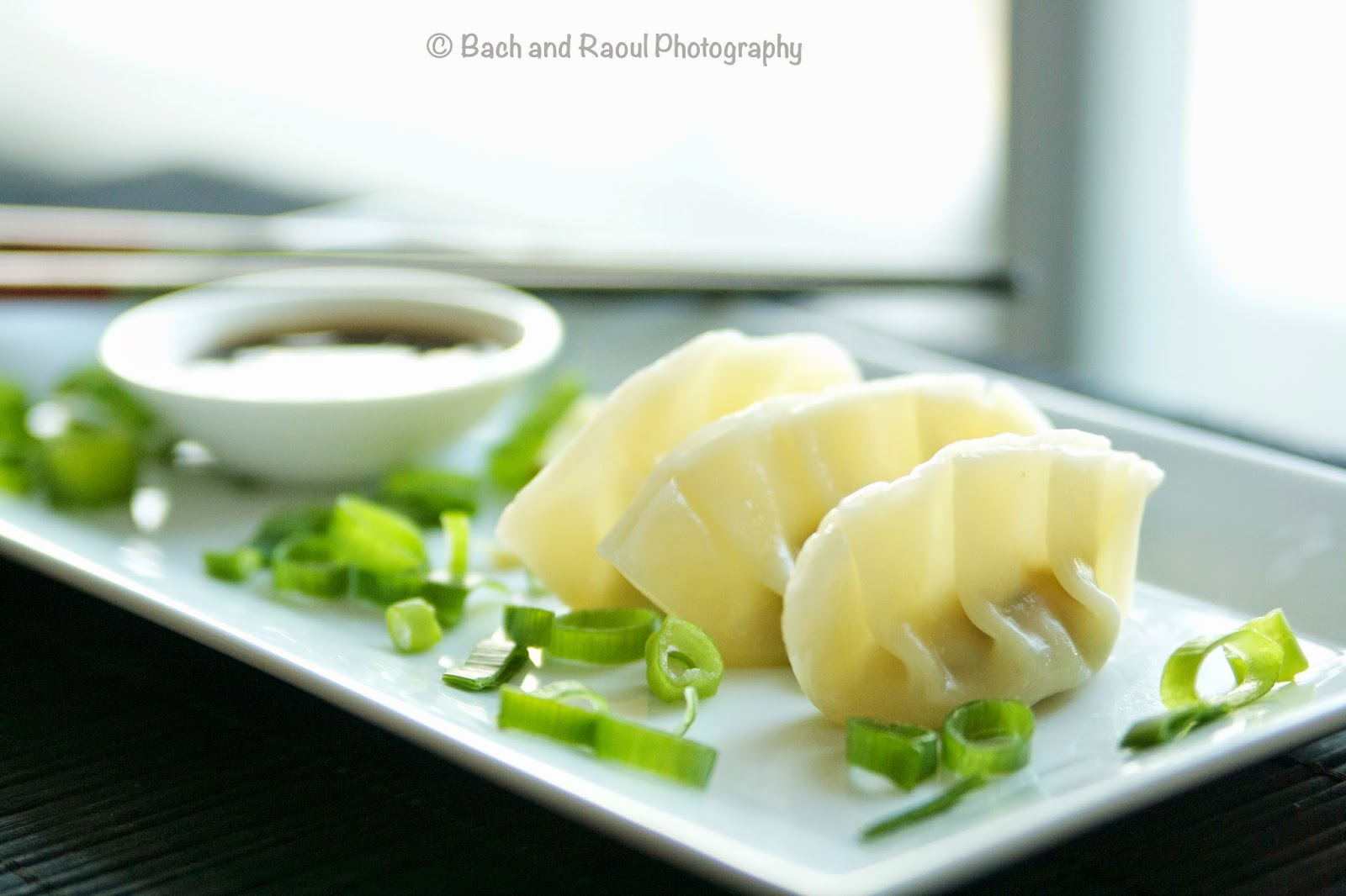 Homemade Chinese Pork Dumplings with Ginger Scallion Dipping Sauce