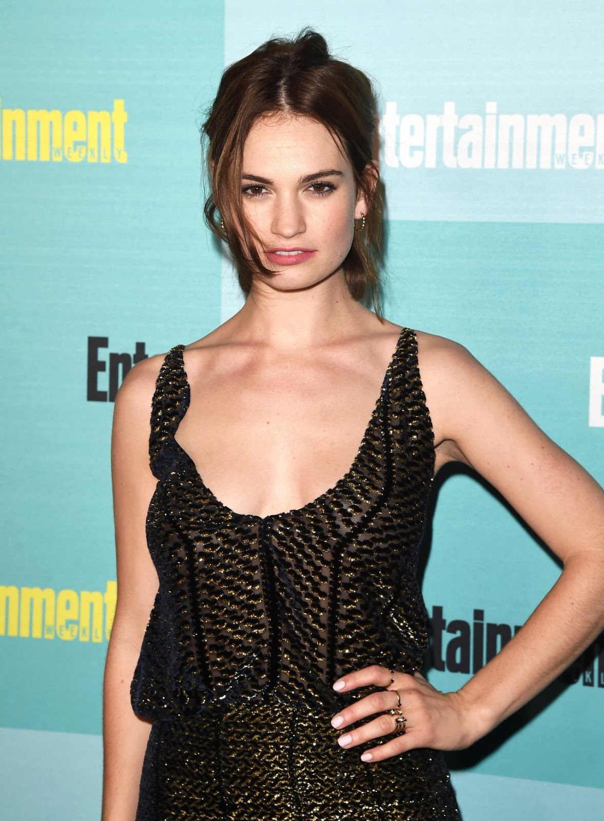 Lily James shows off skin at the Entertainment Weekly Party at Comic-Con 2015