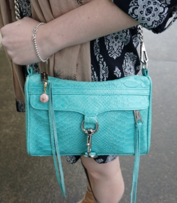 Away from the Blue Aussie style blogger Rebecca Minkoff Mini MAC aquamarine snake