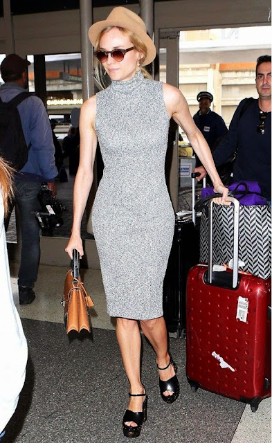 DIANE KRUGER FOREVER 21 DRESS AND FEDORA LAX AIRPORT