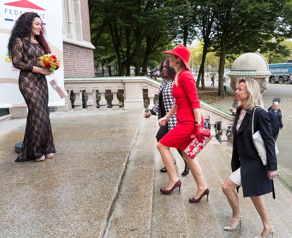 Elvira Sweet, Queen Maxima of The Netherlands and Kajsa Ollongren attend a symposium, marking 40 years of the protection of women against domestic violence