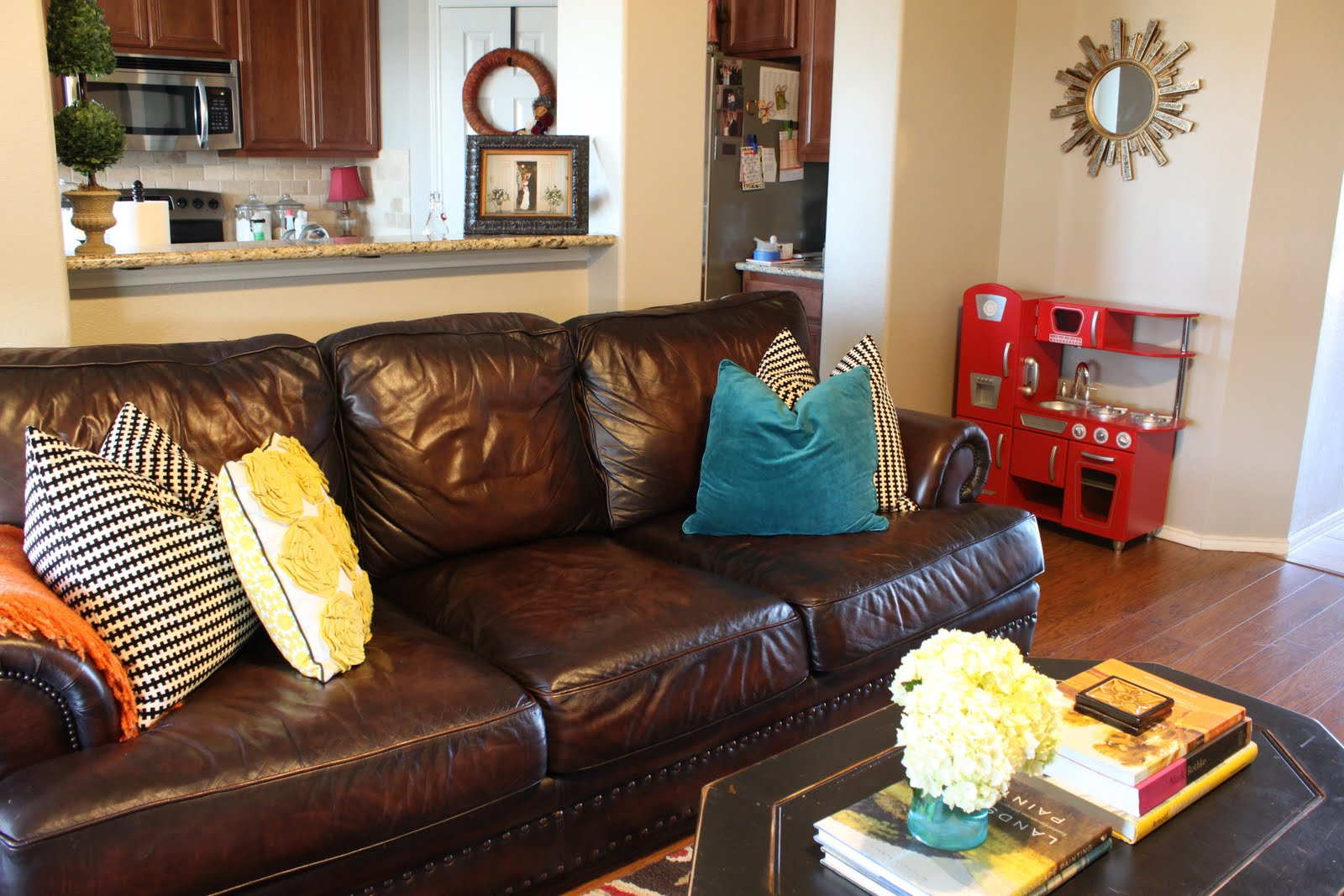 Teal Yellow Brown Living Room