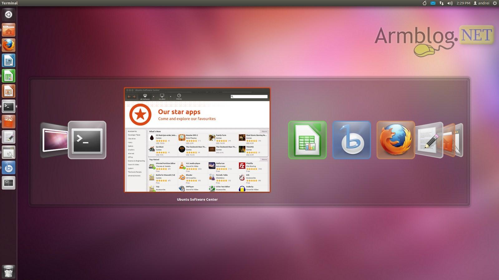 Выглядеть рабочий стол в ubuntu 1110 (oneiric ocelot)