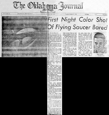 First Night Color Shot of Flying Saucer (Front Page) - Oklahoma Journal 10-5-1965