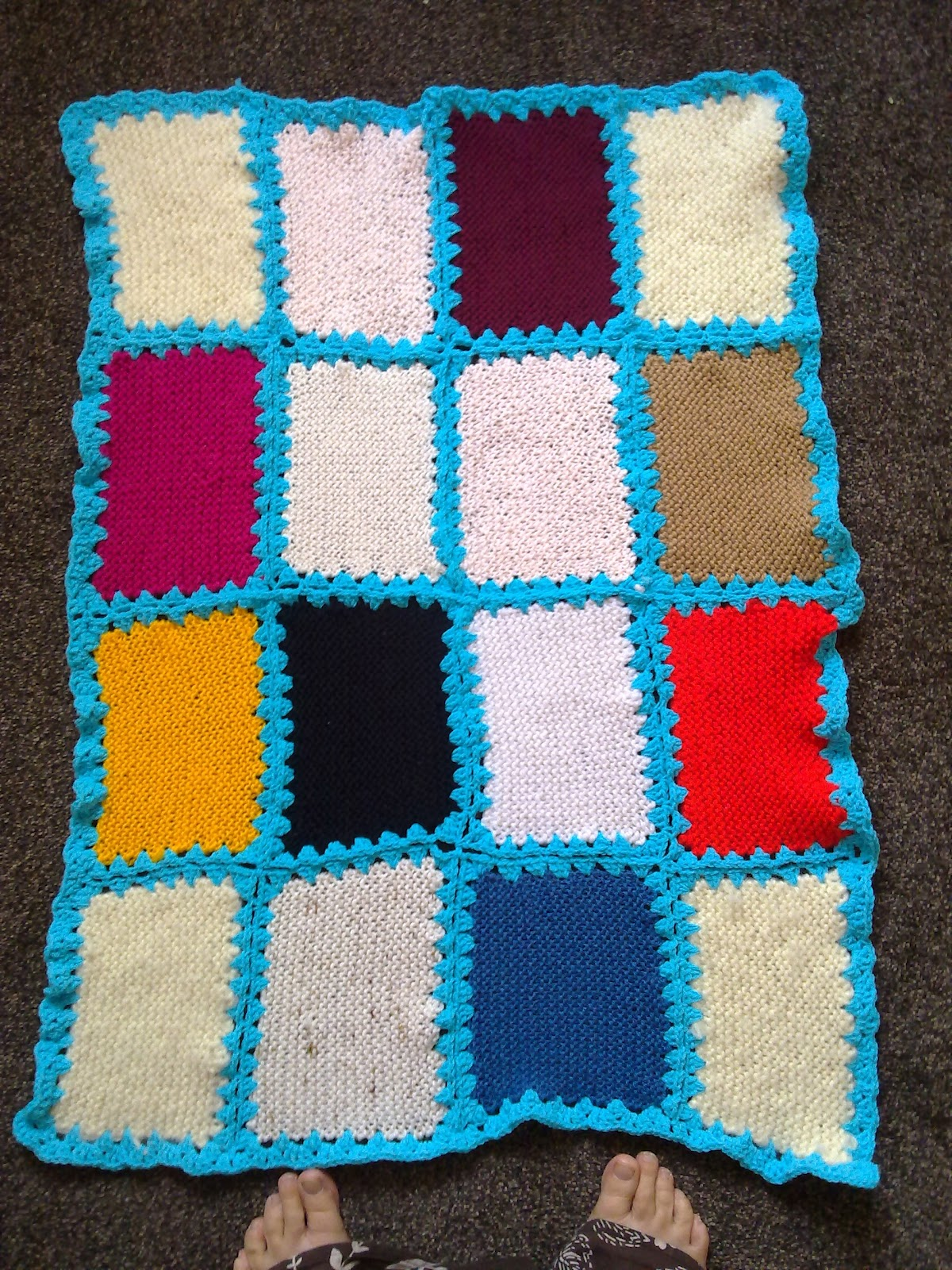 How To Crochet Knitted Squares Together
