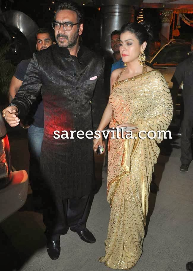 Kajol In Gold Sequence Work Saree