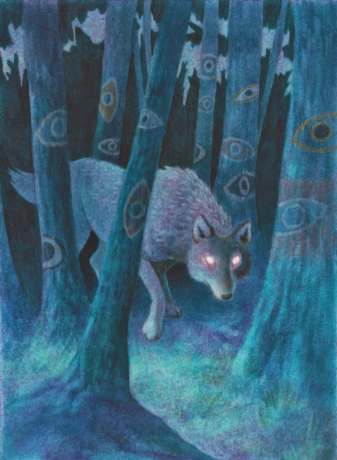 wolf illustration, wolf painting