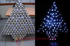 arbol navidad hecho con latas