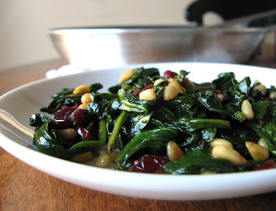 Hot Spinach Salad with Pine Nuts & Cranberries