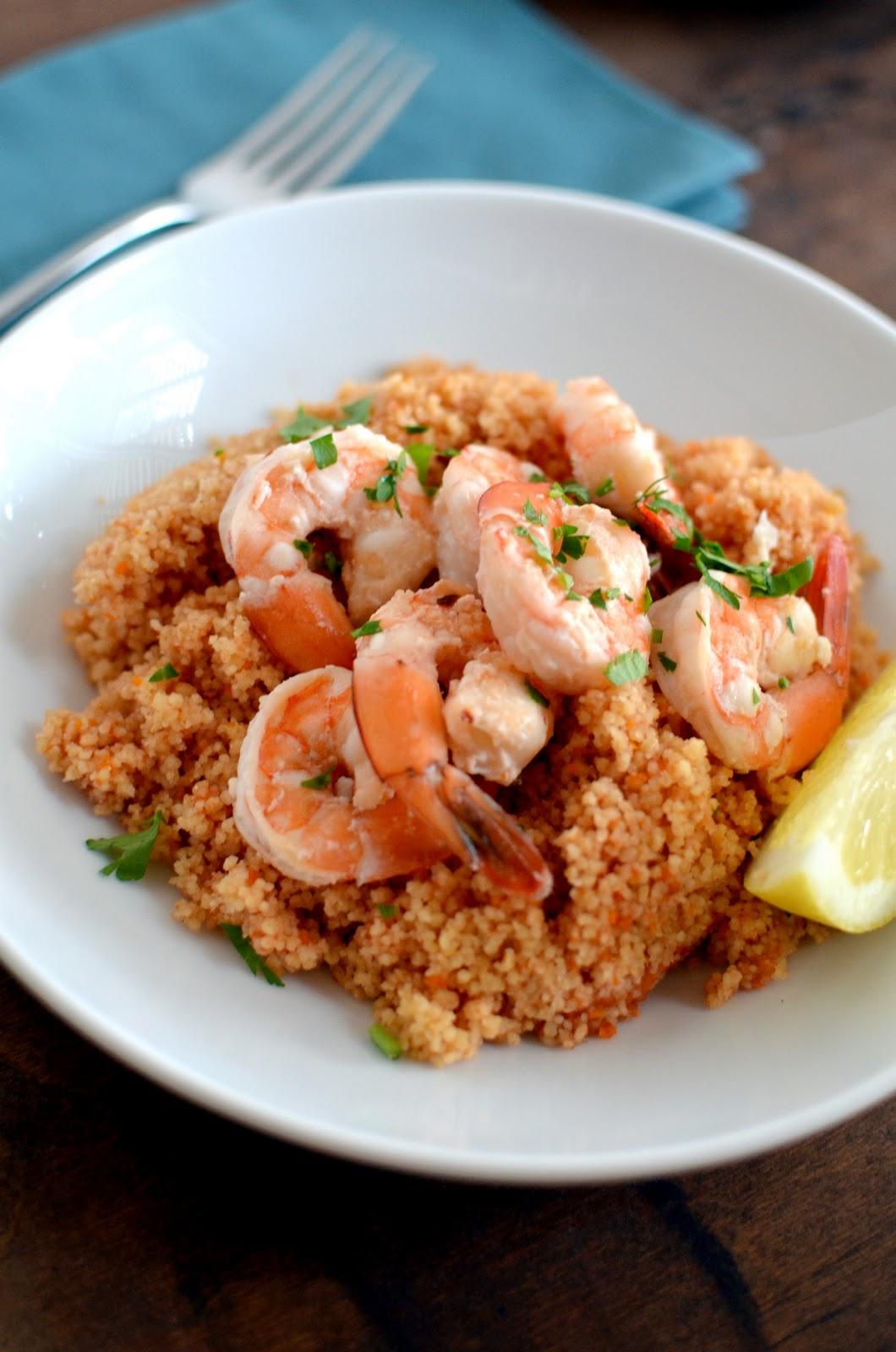 Apricosa: Shrimp Scampi on Couscous