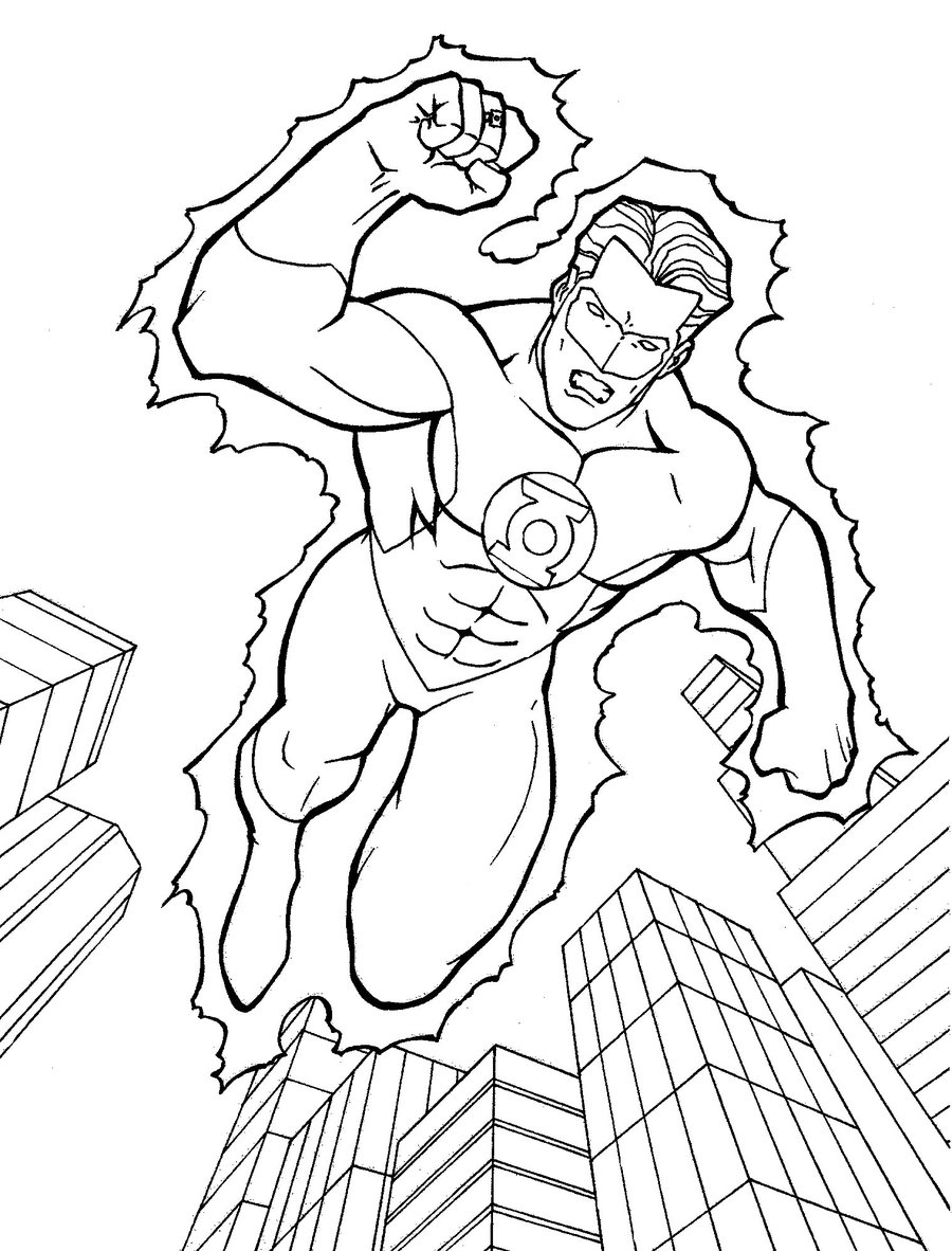 Green lantern coloring pages for Green lantern printable coloring pages