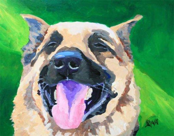 German Shepard by Ron Krajewski, dog art on Etsy