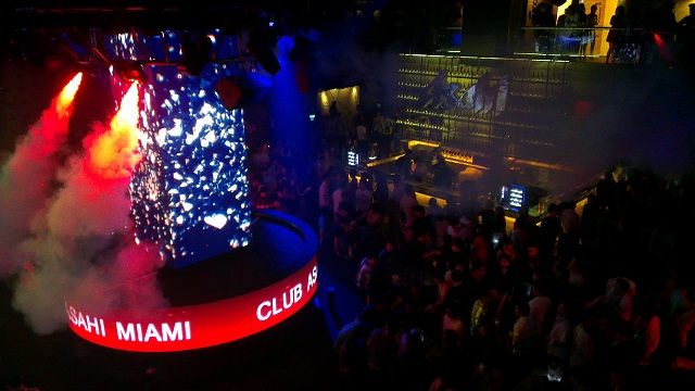 The packed dance floor at Club Asahi Miami