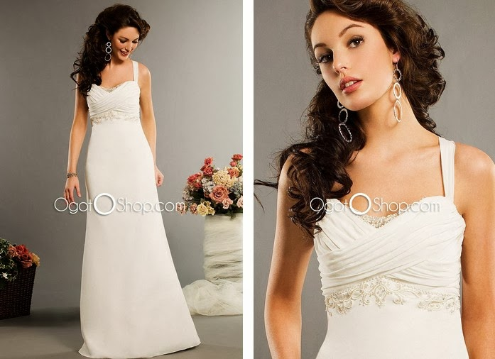 White Ogotoshop Wedding Dresses Better To Match With Jewelry Diamonds Platinum Crystal Pearls Are Suitable Material The Brides Who Wear Colorful
