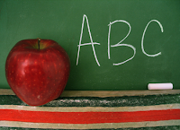 apple, chalkboard and alphabet