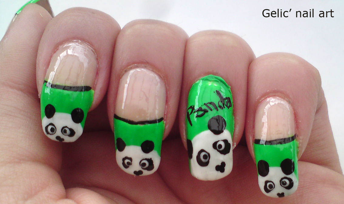 Panda Nail Design Easy : Gelic nail art cute panda on green funky french