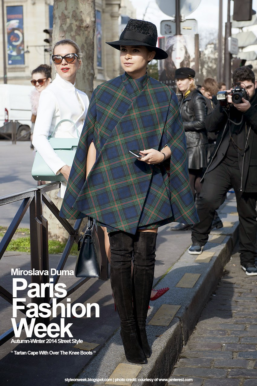 Paris Fashion Week Autumn-Winter 2014 Street Style - Tartan Cape With Over The Knee Boots