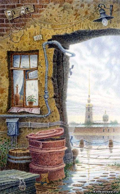 Пейзаж с плюшевым мишкой и Петропавловской крепостью