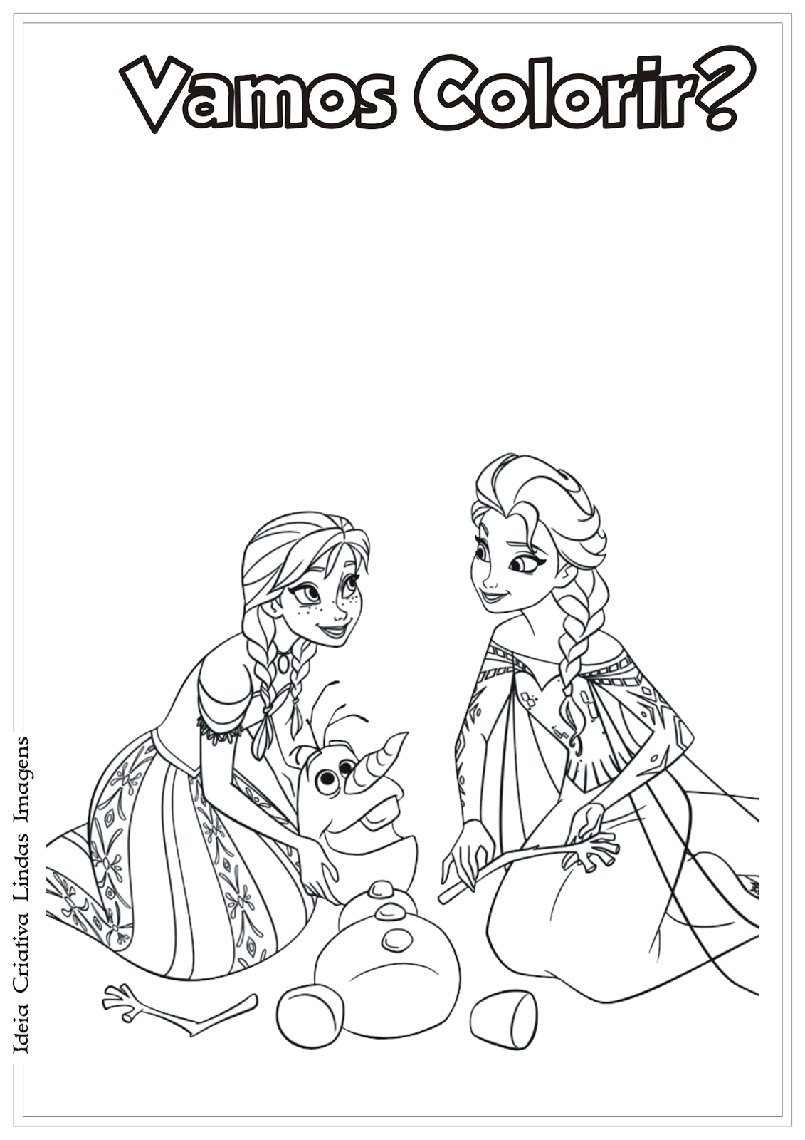 Anna, Elsa e Olaf - Frozen desenho para colorir