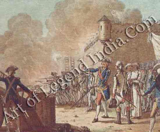 British repulse at Pondicherry, The inevitable clash between the rival French and British trading interests in India began in 1744. The appearance of a British fleet in the Indian Ocean led Joseph Dupleix, Governor of Pondicherry to summon to his aid La Bourdonnais, and Governor of Martinique. They succeeded in capturing Madras from the British in the same year but due to quarrels between the two Frenchmen, no further progress was made. In mid-1748 the British took the offensive, appearing with 13 ships of the line off the Coromandel coast. Their siege of Pondicherry was a dismal failure, marked by singular ineptitude, and was raised only a week before the news of the Peace of Aix-la-Chapelle reached the subcontinent. Through this Madras was ceded back to the English in return for Louisborg in New France.