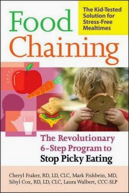 "Book cover: ""Food Chaining,"" by Chery Fraker, et. al. Cover image combines a cartoon-like illustration of an apple, carrot, a meat, tomato, lettuce and cheese sandwich and a child gazing at a beverage in a cup with straw, with the photo of a child holding a slice of bread so that it obscures his or her face."